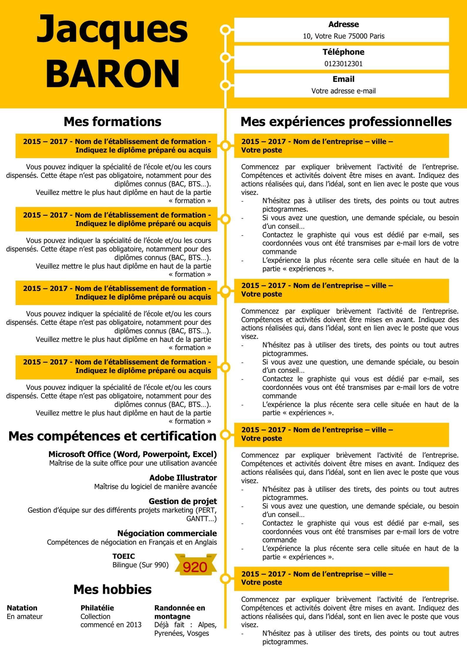 Modeles Cv Et Lettre De Motivation Jaune Modifiable Pour 6 99 Modele De Cv Design Modele Cv Lettre De Motivation