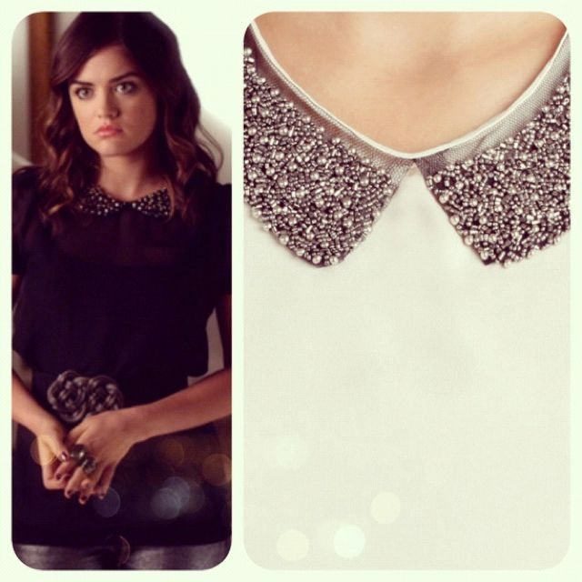 Aria rocked the studded collar trend on Pretty Little Liars this week. Get the look at FrockCandy.com ! #ontrend #fall2012