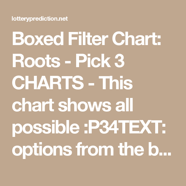 Boxed Filter Chart: Roots - Pick 3 CHARTS - This chart shows
