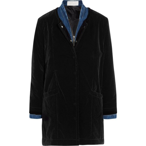 KÉJI Waterproof velvet and denim coat (2.365 BRL) ❤ liked on Polyvore featuring outerwear, coats, black, water proof coat, zip coat, ski coat, waterproof coat and padded coat