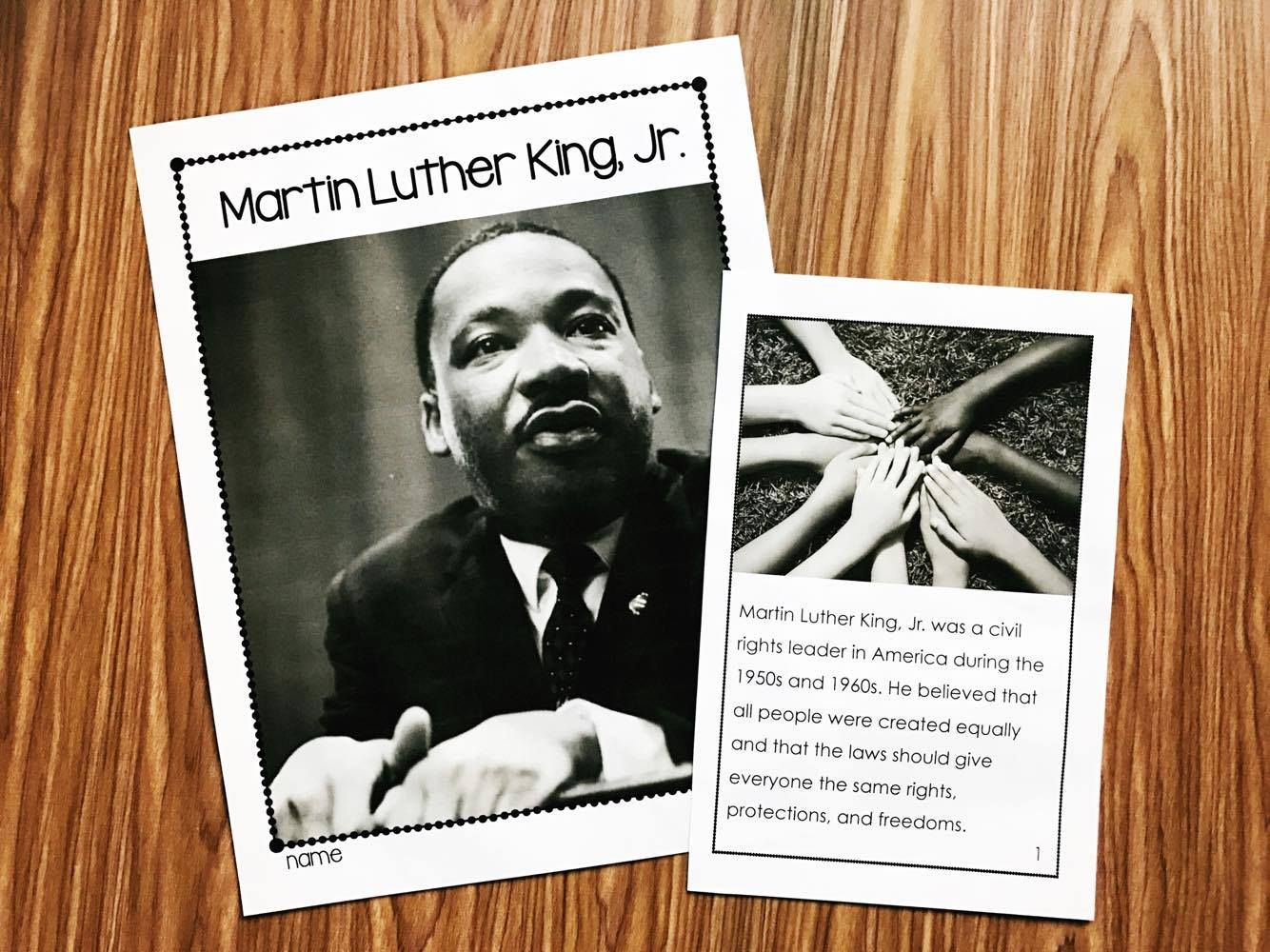 Martin Luther King Kindergarten Printables
