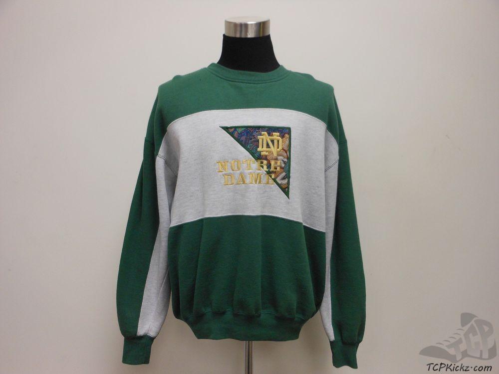 Vtg 90s Crable Notre Dame Fighting Irish Crewneck Sweatshirt sz XL Extra Large #Crable #NotreDameFightingIrish  #tcpkickz