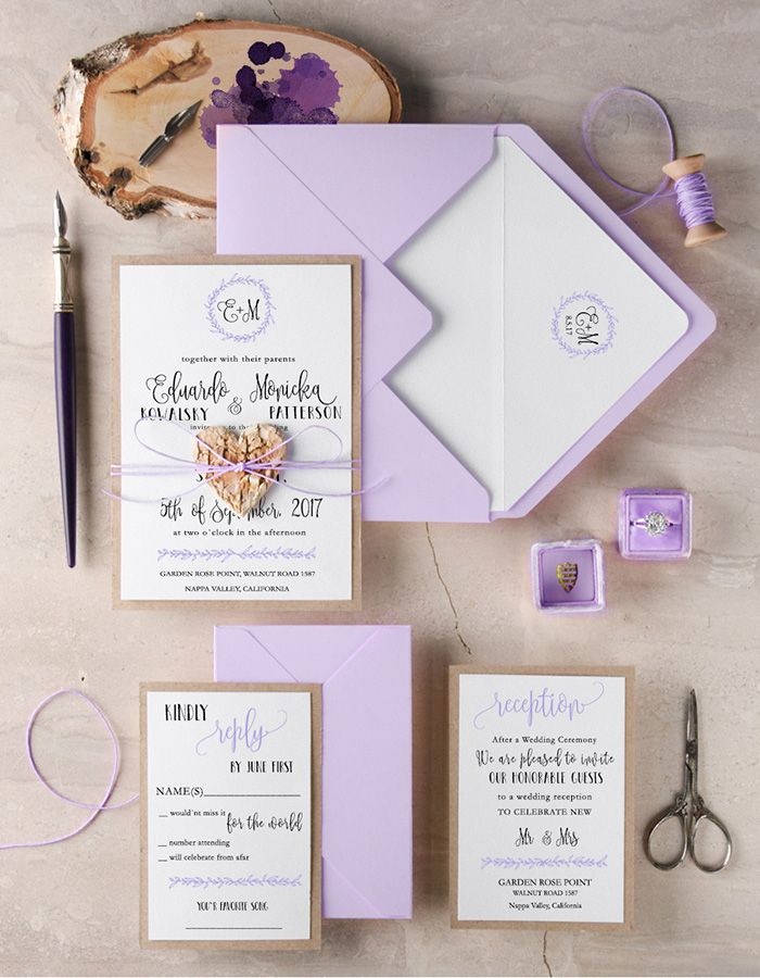 Rustic lilac wedding invitation kits #rusticwedding #countrywedding ...