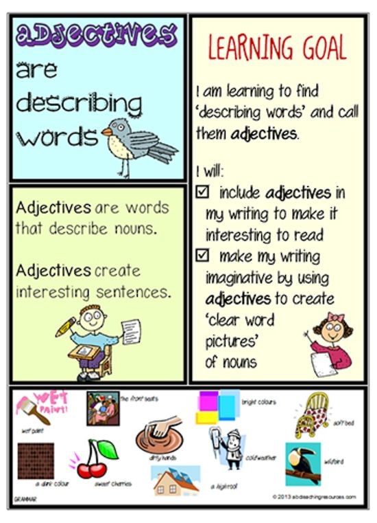 Parts of Speech Adjective Chart A colourful adjective chart - make a t chart in word