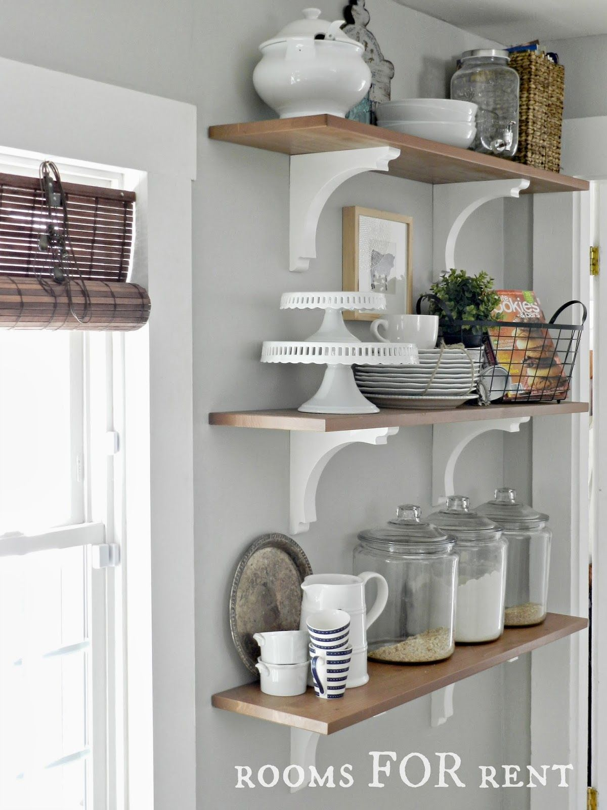 Decorating With Glass Canisters In The Kitchen Hiking Pinterest - Grey kitchen shelves