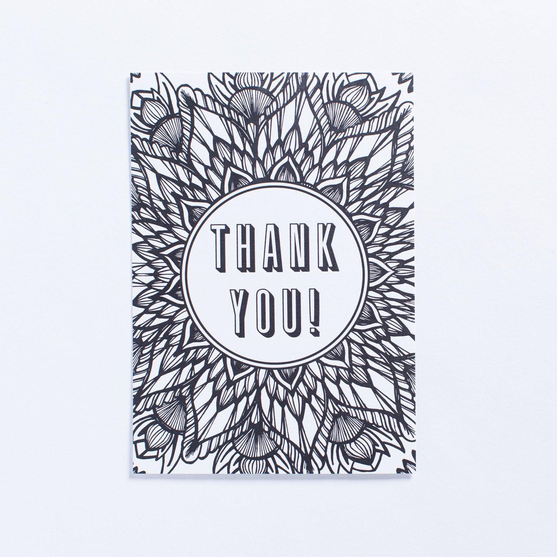 Thank You Coloring Postcard
