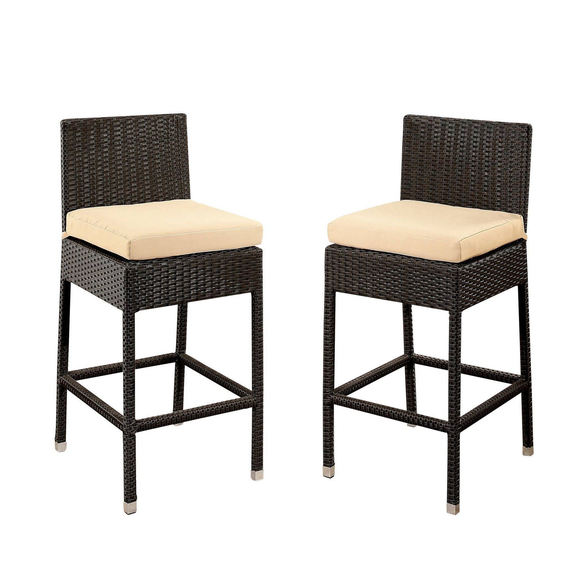 Cailen outdoor wicker bar stools with cushions set of 2