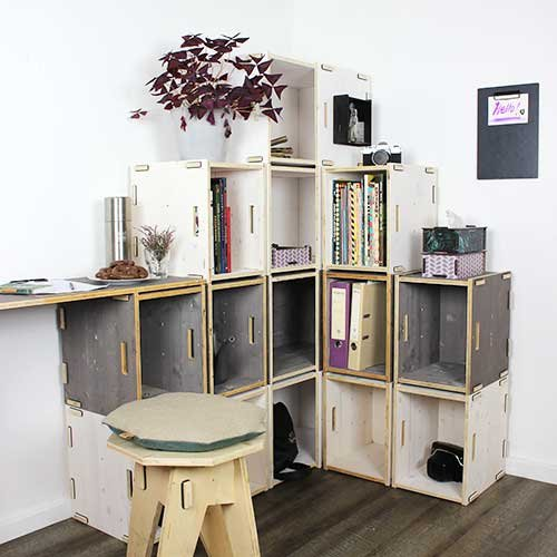 WERKBOX Eckregal Fichte Weiß Holzkisten, Wohnzimmerwand