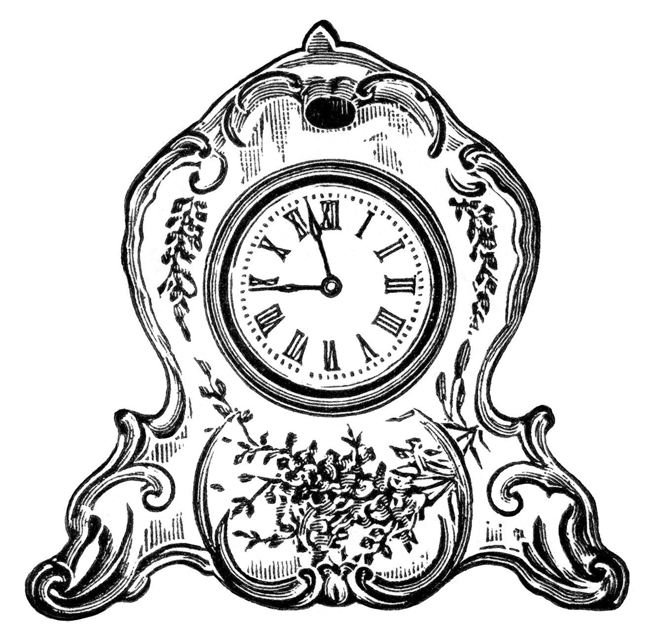 Vintage Clock Clipart Black And White Clip Art Decorated