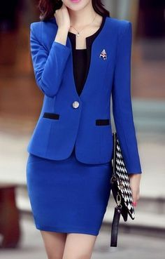 Image Result For Blue And Black Women Skirt Suits Office Wear