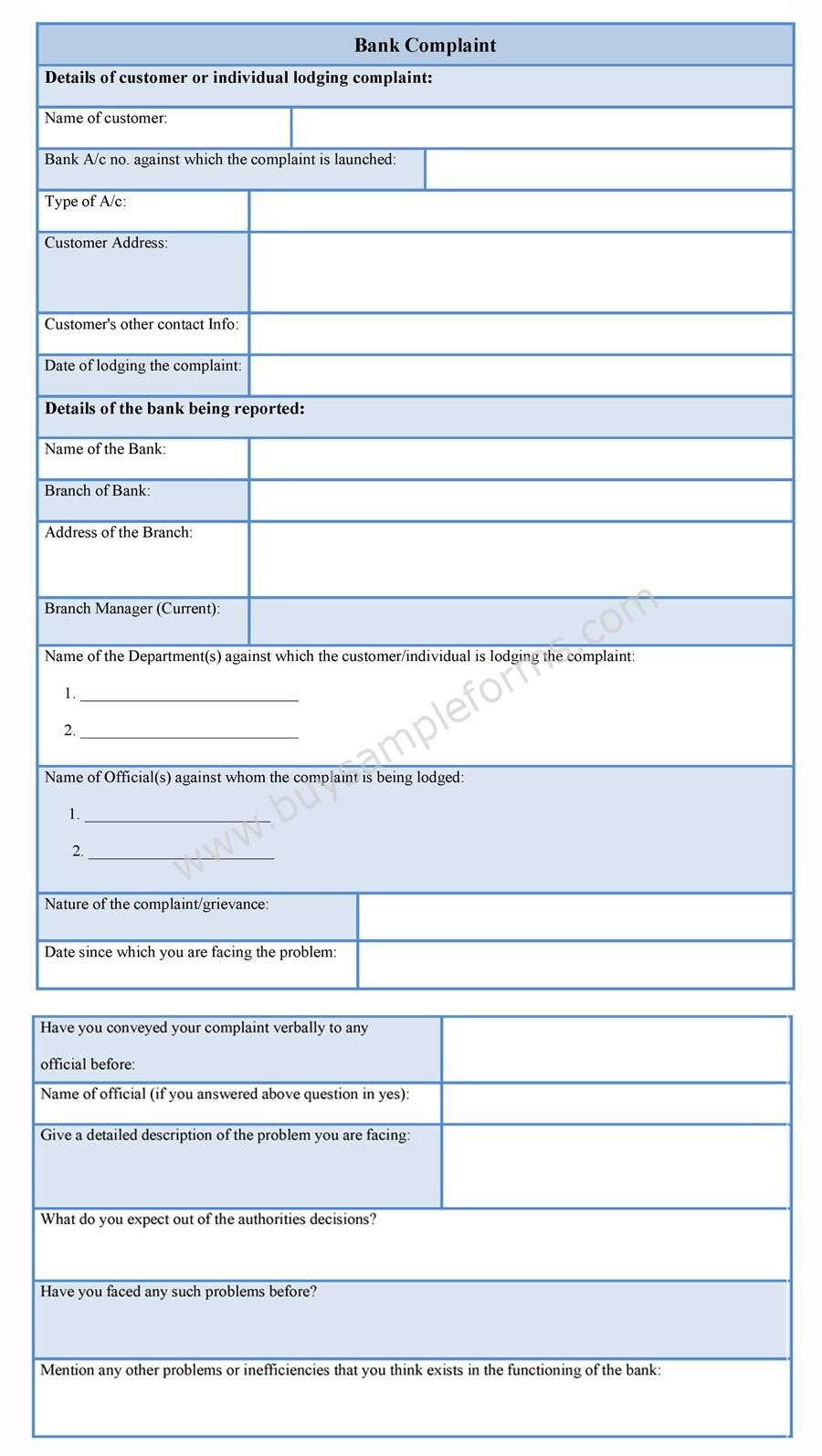 Printable Bank Complaint template available online Download it – Complaint Words