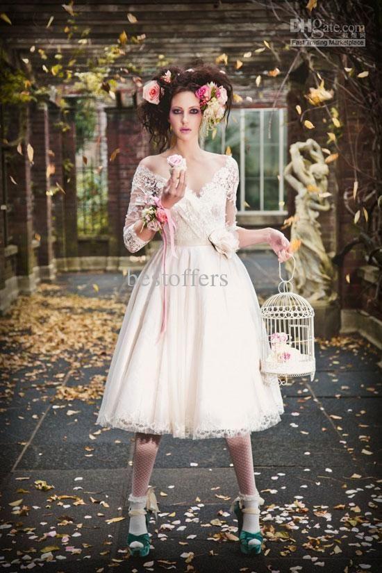 custom made vintage tea length wedding dresses lace V neck 3/4 ...