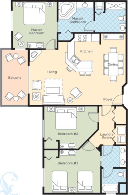 Wyndham Bonnet Creek 3 Bedroom In 2020 Bedroom Floor Plans Orlando Fl Vacation Bonnet Creek