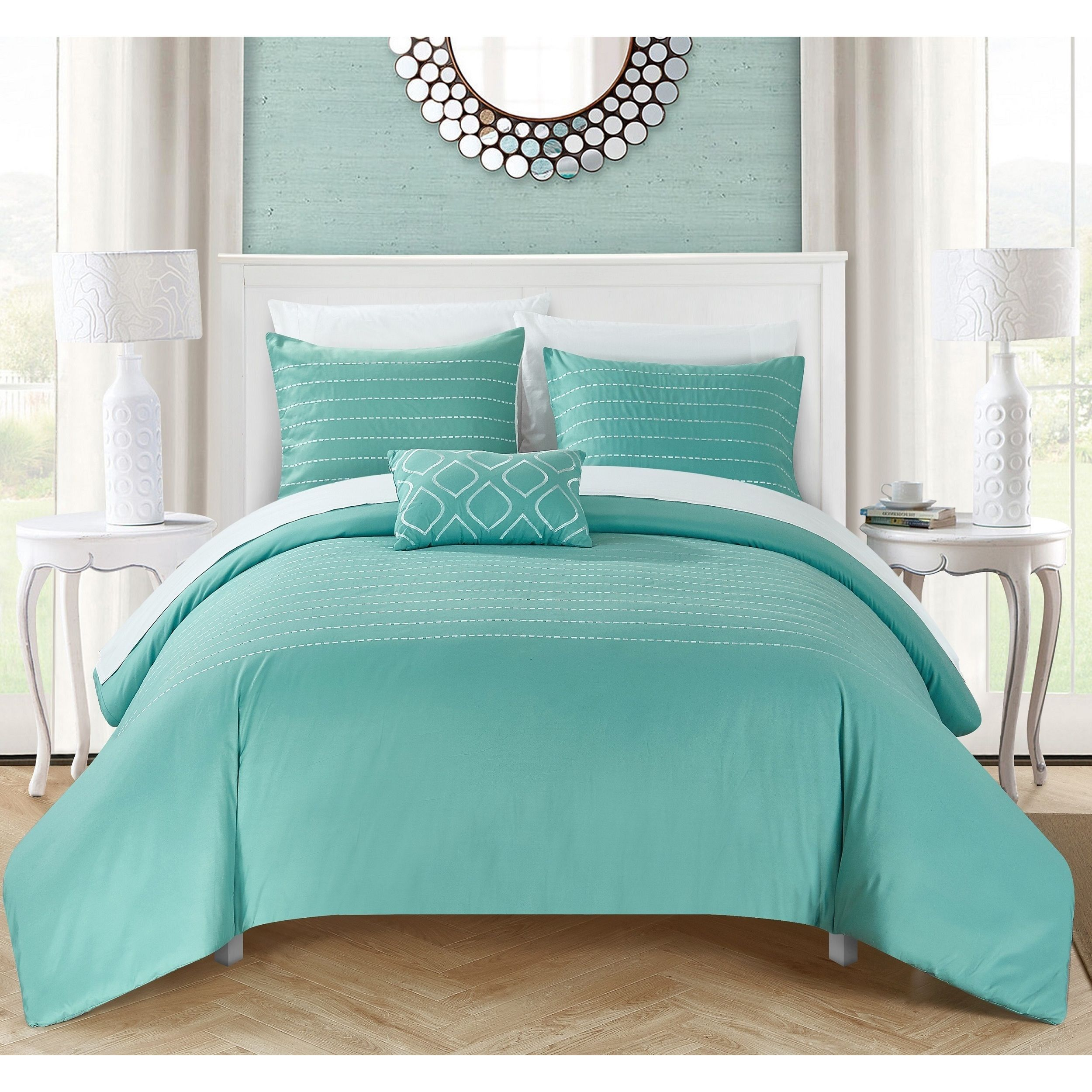 Chic Home Kingston 8 Piece Turquoise Bed In A Bag Duvet Set By Chic Home