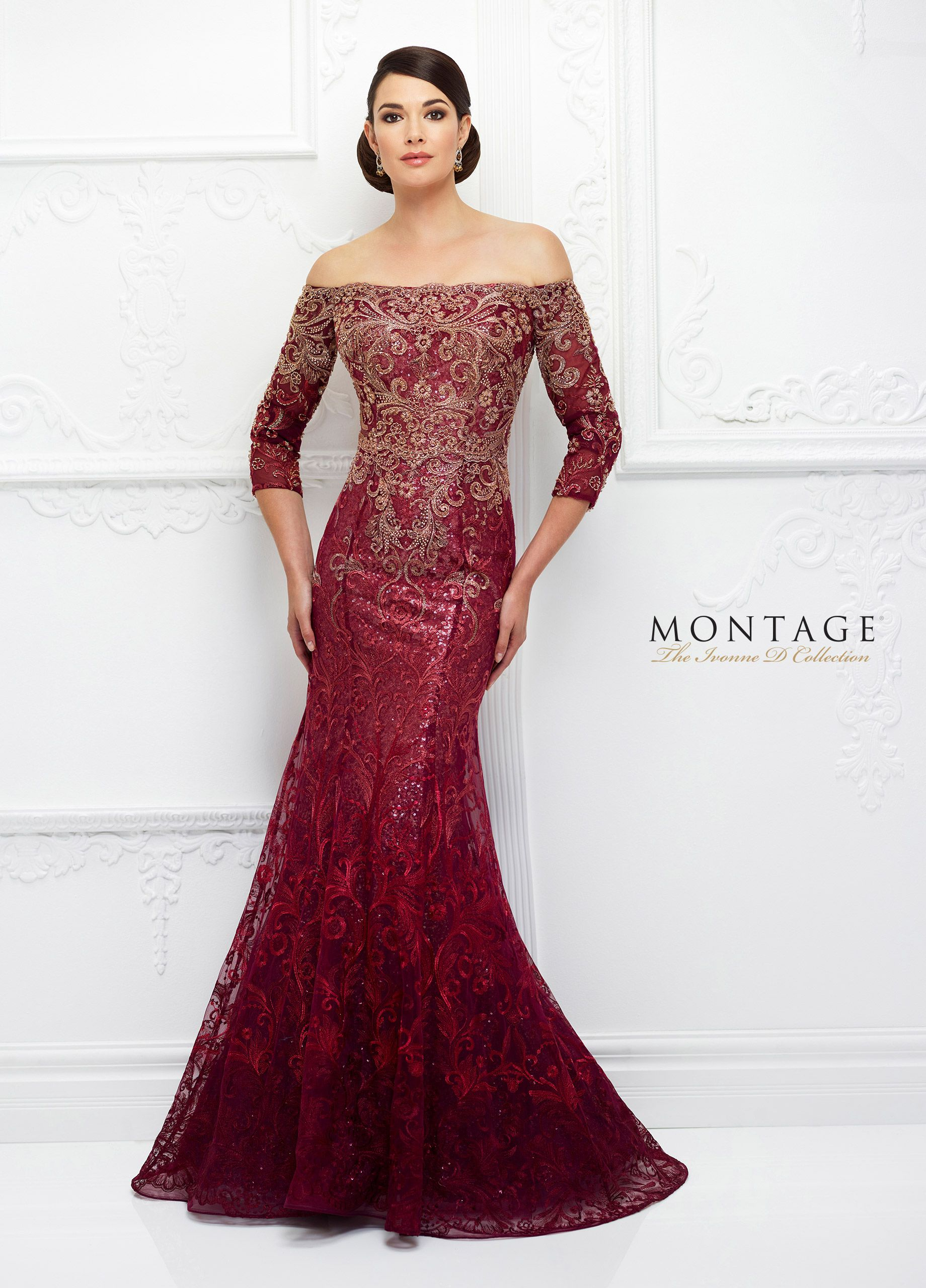 Ivonne d evening dresses d lace overlay quarter sleeve