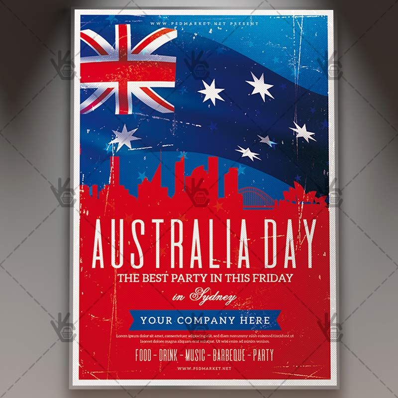 Happy Australia Day - Club Flyer PSD Template #aussie #aussieday - independence day flyer