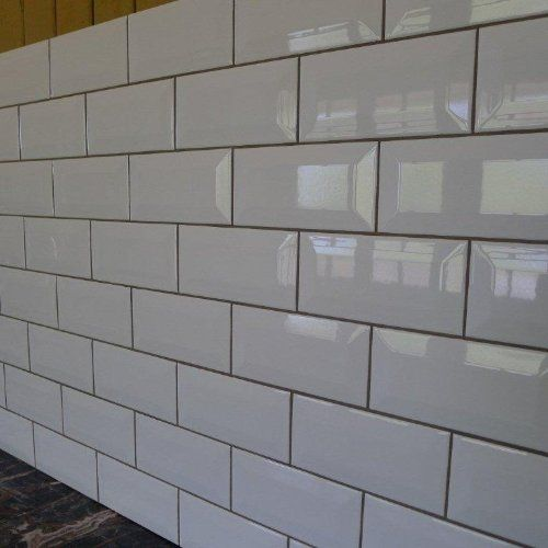 White Wall Tiles For Kitchen: 150x75 Bevelled White
