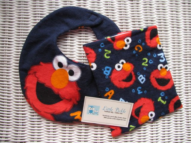 Elmo Bib & matching Snack Bag by Little Pickle www.facebook.com/Little.Pickle.Store