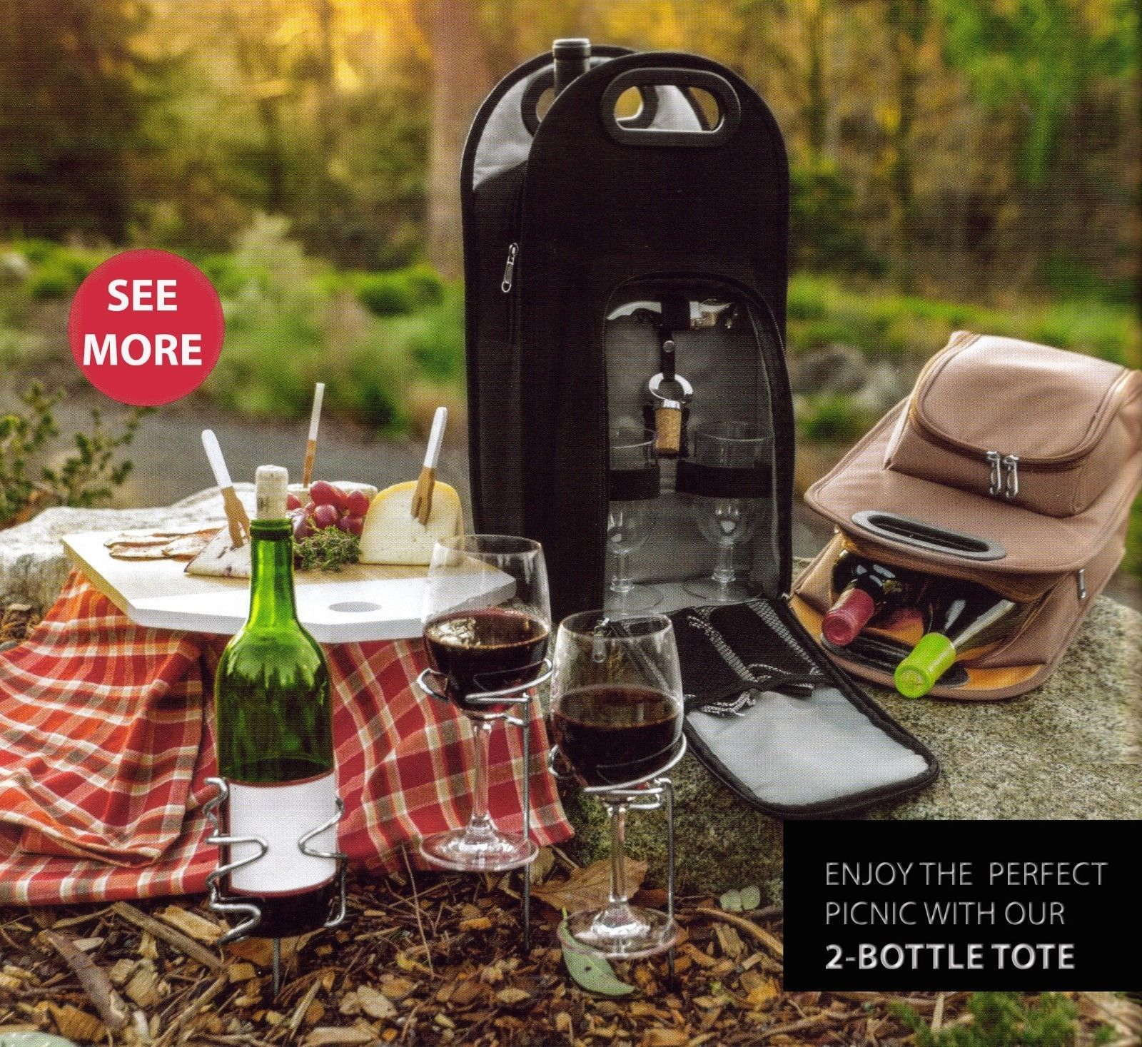 Two Wine Bottle Carrier Holder Bag Case Tote Cooler Travel Picnic Insulated Gift
