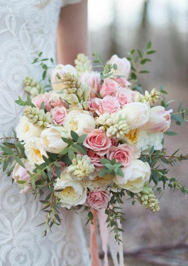 Romantic wedding bouquet of roses fresh peonies flowers