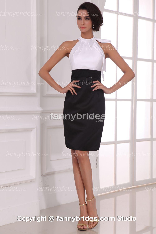 High Neck Black And White Summer Elegant Cocktail Dress ...