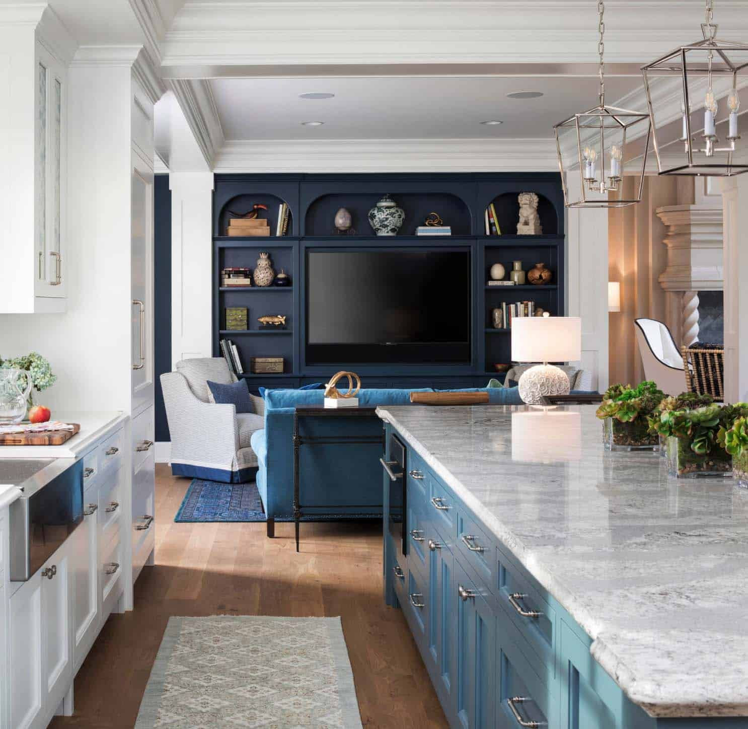 French Chateau Inspired Home Nestled On Beautiful Lake Minnetonka Living Room And Kitchen Design Interior Design Kitchen Open Kitchen And Living Room