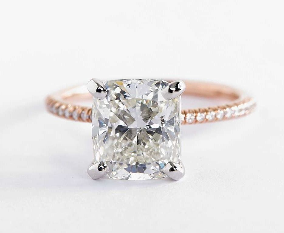 Petite Micropave Diamond Engagement Ring In 14k Rose Gold 1 10 Ct Tw Yellow Engagement Rings Diamond Engagement Rings Vintage Engagement Rings