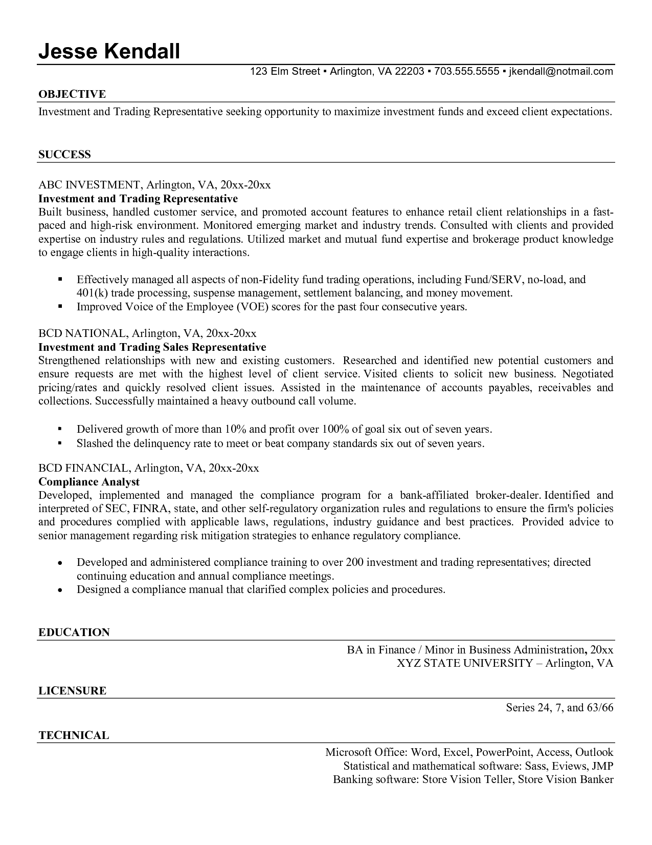 Proprietary Trading Resume Example http//www