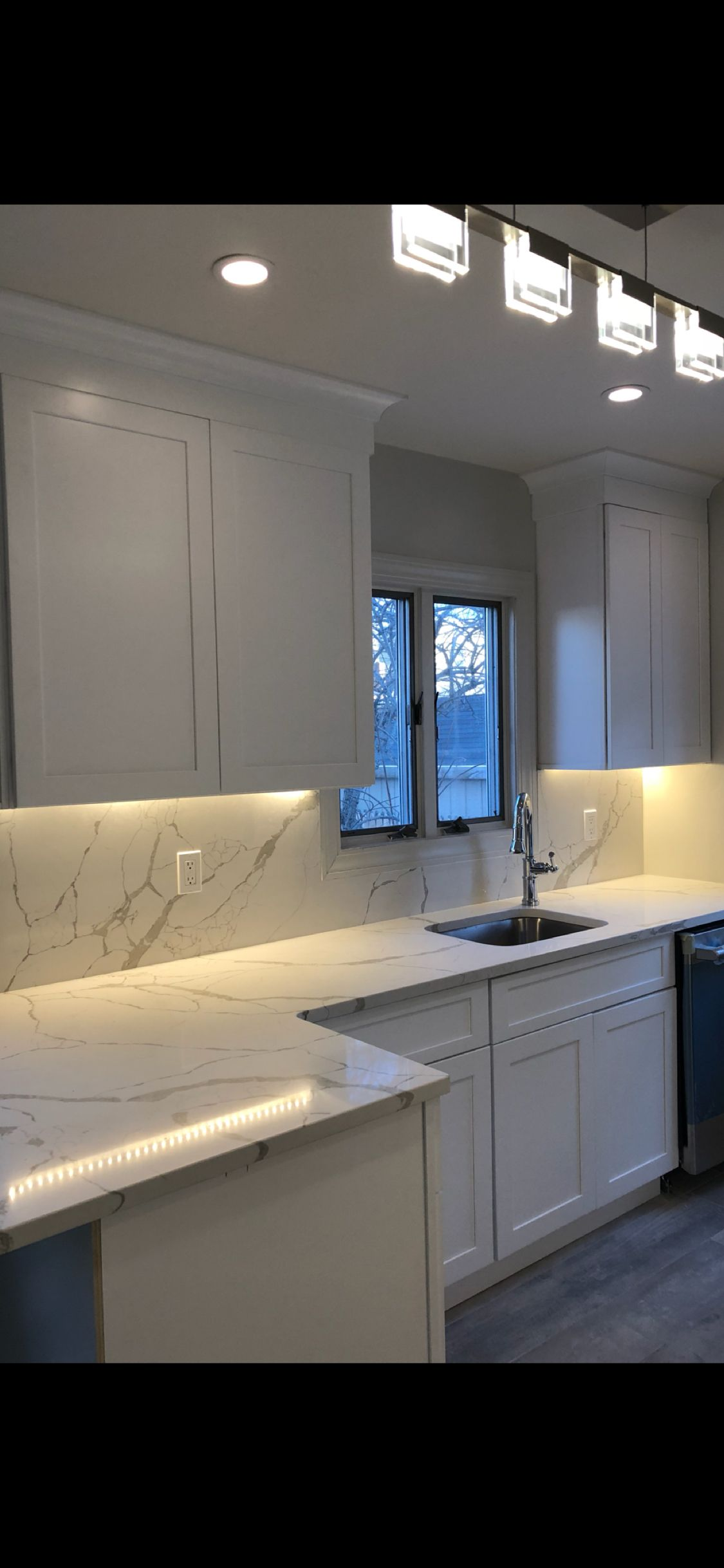 Kitchen Renovation Featuring Fabuwood Galaxy Frost Cabinetry Msi