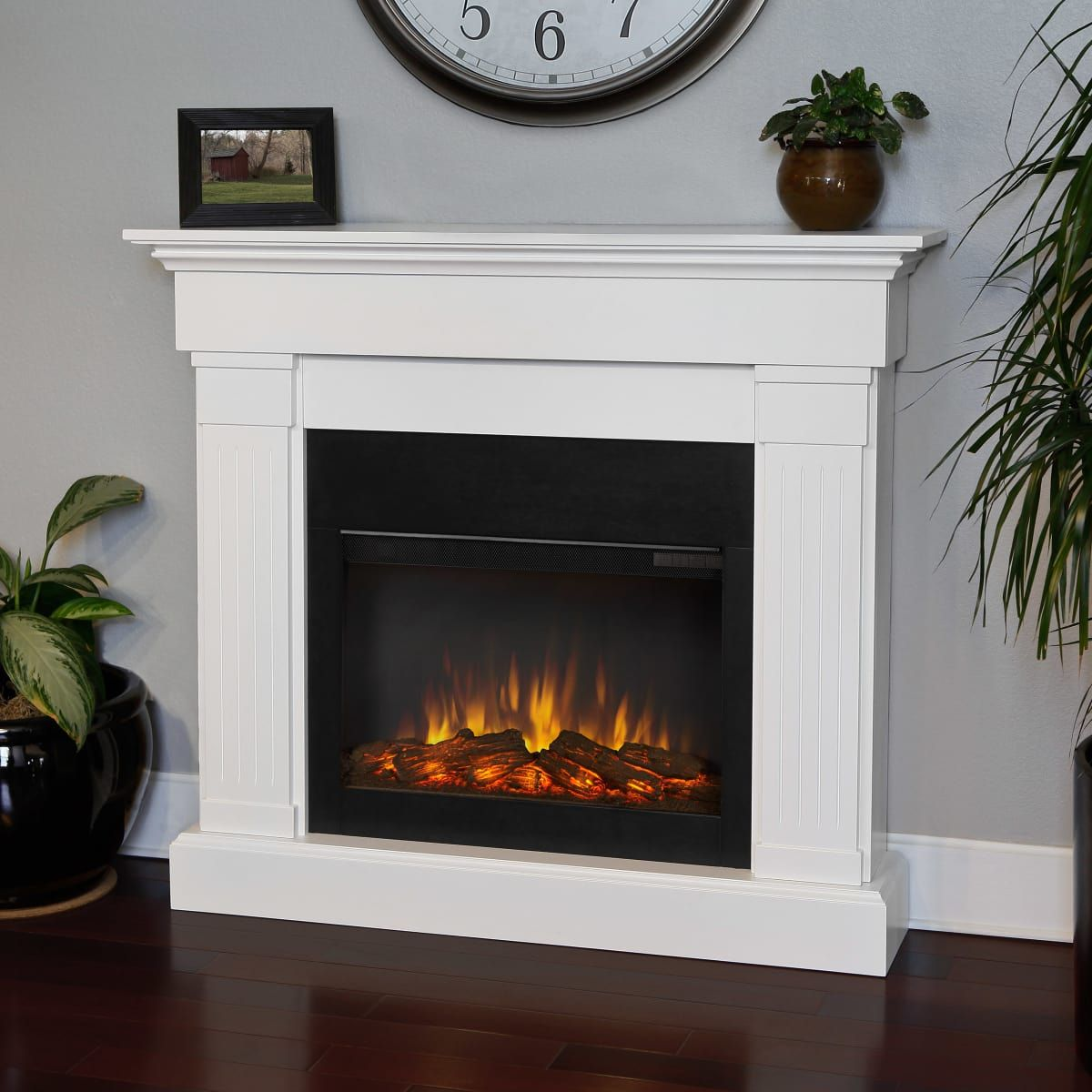 Real Flame 8020e W 48 Inch Wide Crawford Slim Build Com In 2021 White Electric Fireplace Electric Fireplace Fireplace