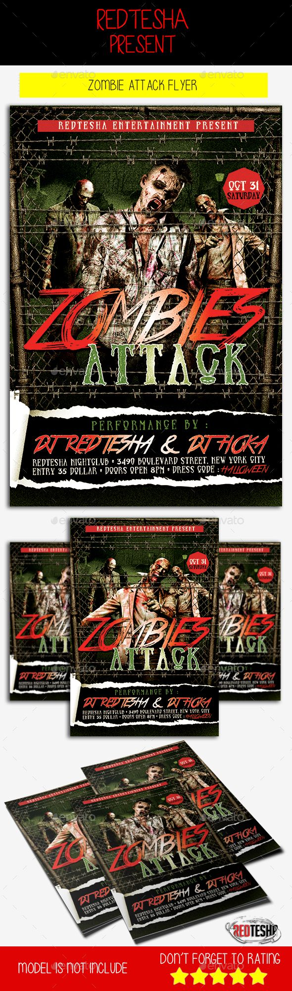 ready to have halloween party? this zombie attack flyer now