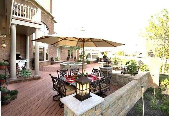 Love the stone paver walls instead of deck railings. Could