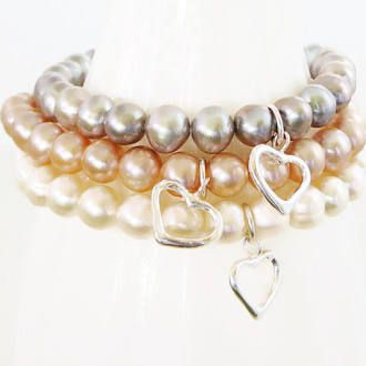 Freshwater Pearl Bracelets Pink sterling heart charm stacking friendship fashion jewelry Wedding Bridal