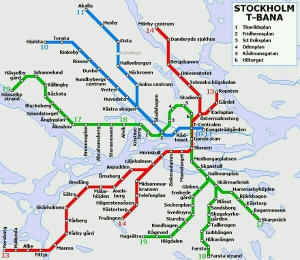 Stockholms Tunnelbana I Ungefarlig Position I En Karta Stockholm