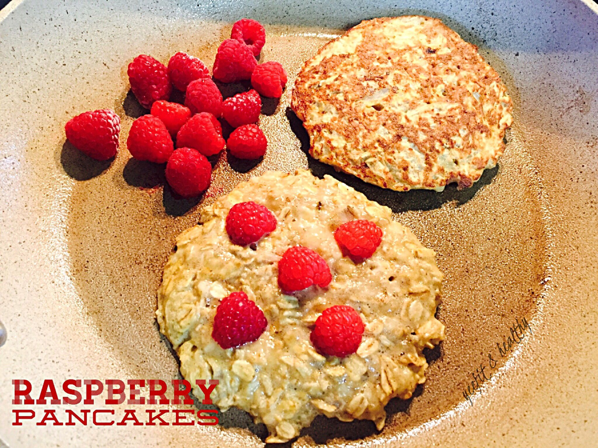 Starting this morning with a high protein breakfast, pancakes with a twist of raspberries.   In a blender mix : 1/2 cup rolled oats 1/2  banana 1 egg 1/2 teaspoon vanilla extract   In a skillet over medium heat, spray non-stick cooking spray , grab a 1/4 cup of mixture onto skillet , add some raspberries on top.  Sautéed some aside for a few seconds !  (wow tastes so good)  Flip pancakes until golden brown and breakfast's ready!