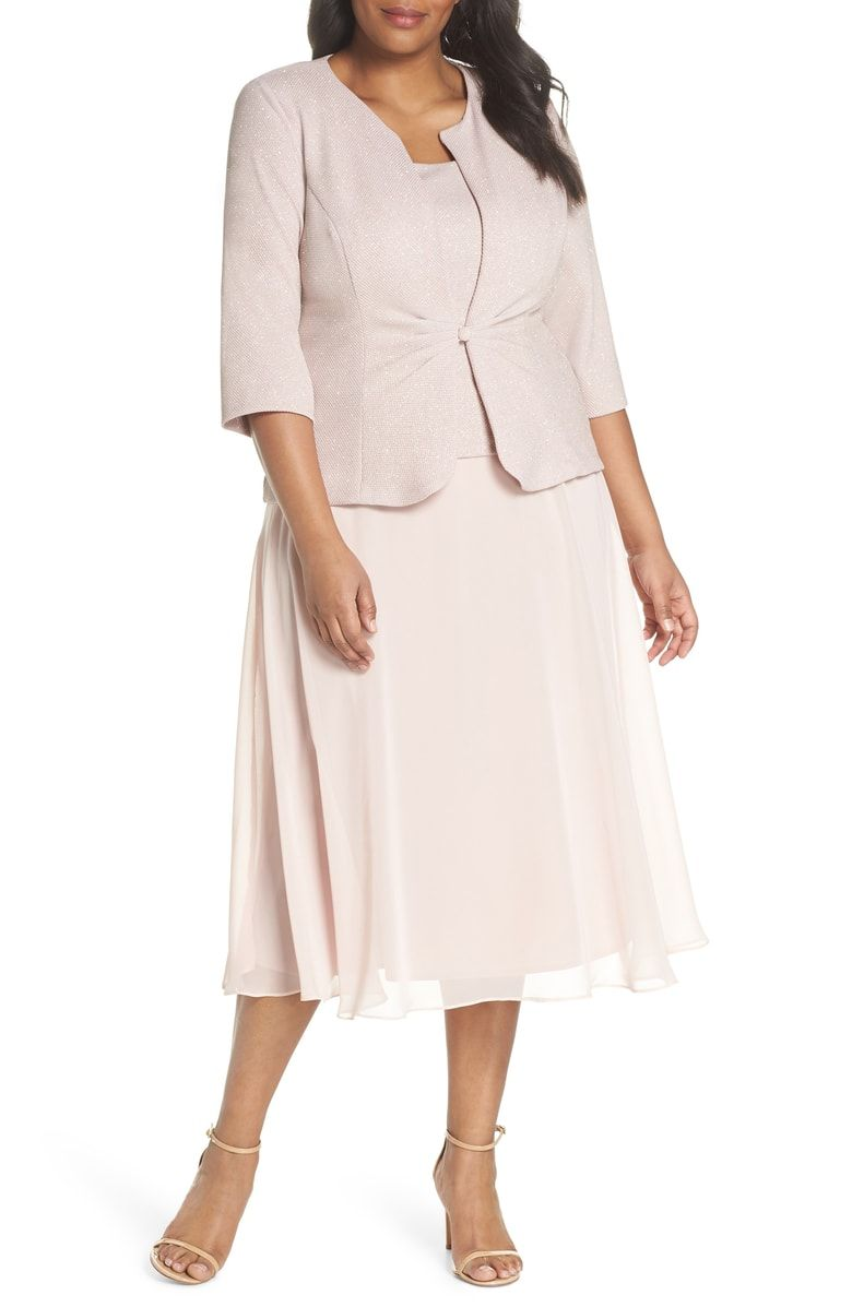 Alex evenings glitter tea length aline dress with jacket