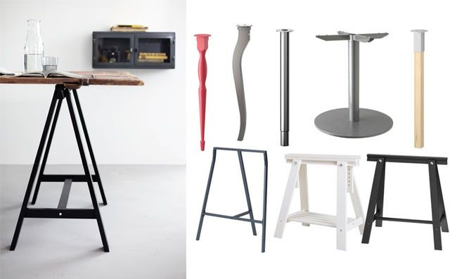 Right: Available At Ikea, Clockwise From Top Left: Nipen Leg, Red, $15;  Lalle Leg, $12.50; Gerton Adjustable Leg, $25; Billsta Round Table  Underframe, $169; ...