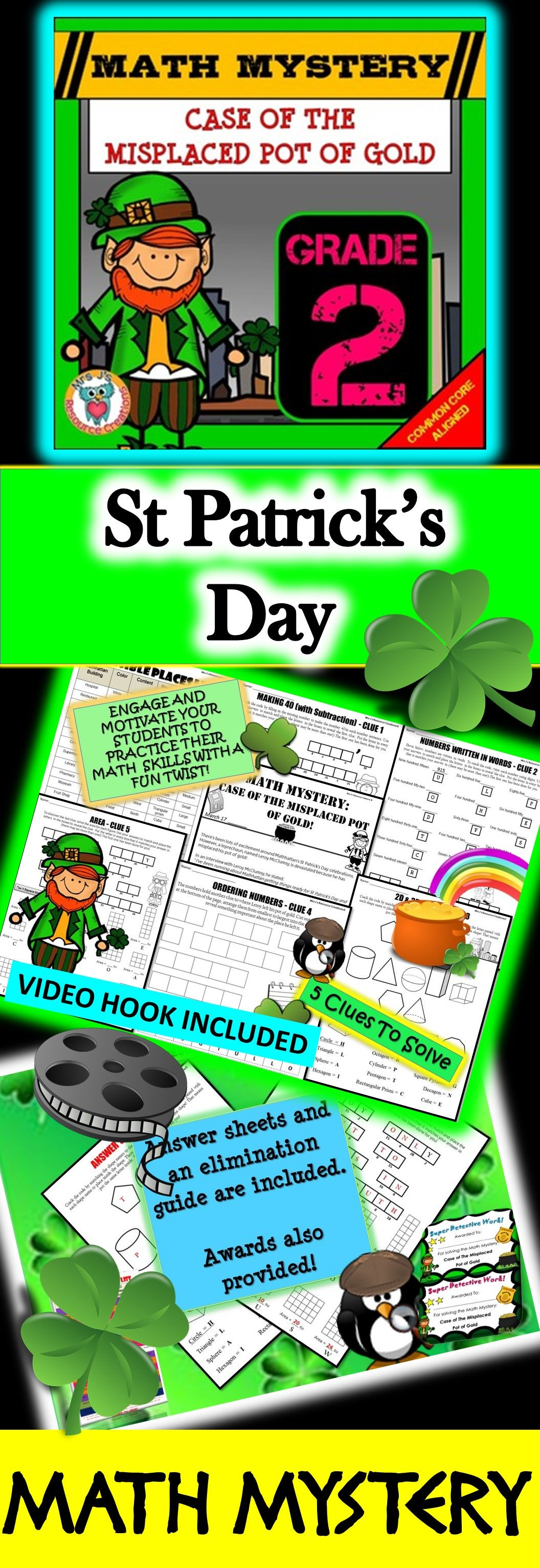 2nd Grade St. Patrick\'s Day Math Activity - St. Patrick\'s Day Math ...