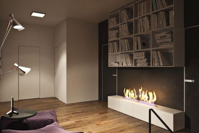 Elegant Moderne Wohnung Leseecke Bücherregal Offener Ethanol Kamin Dielenboden