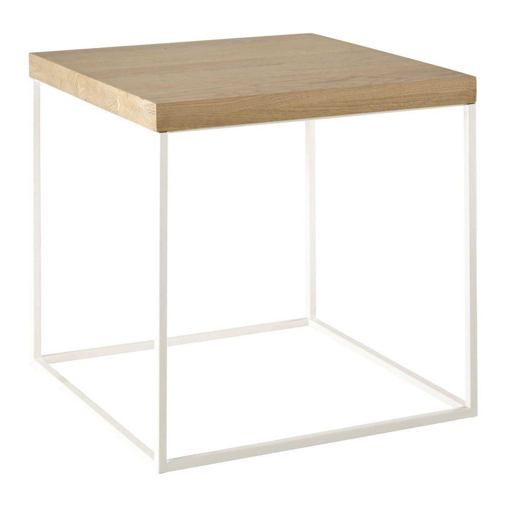 Wood Scandinavian Side Table With White Metal Frame Austral