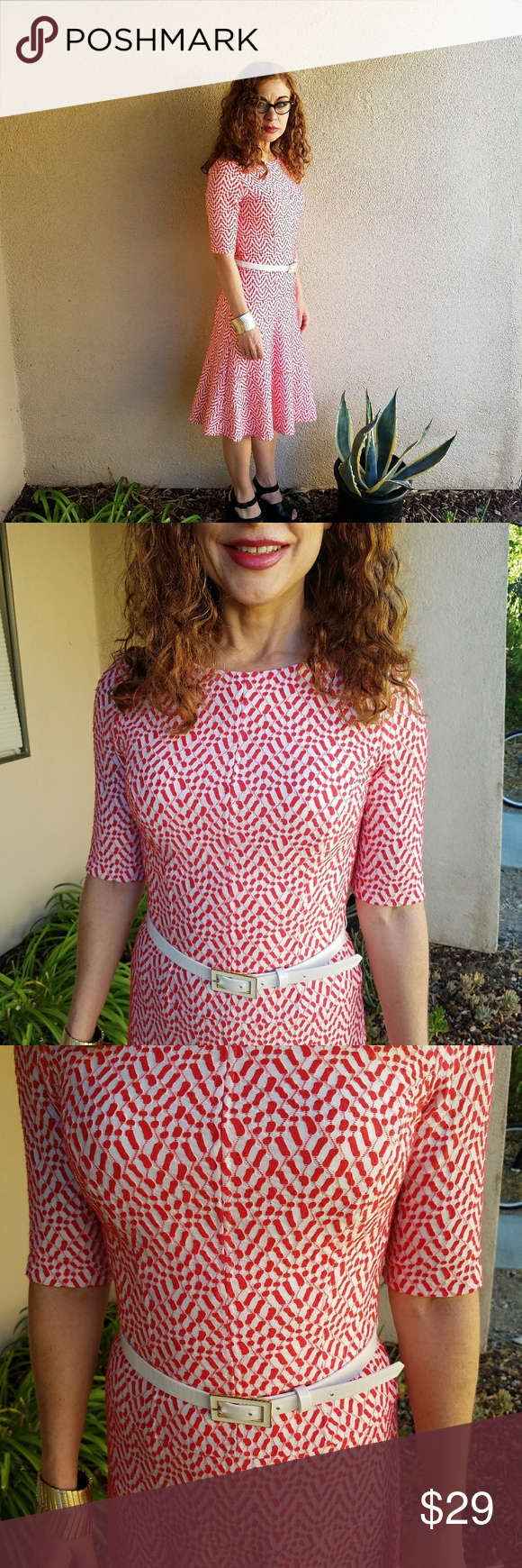 Anne klein red and white dress flared skirt leather belts and