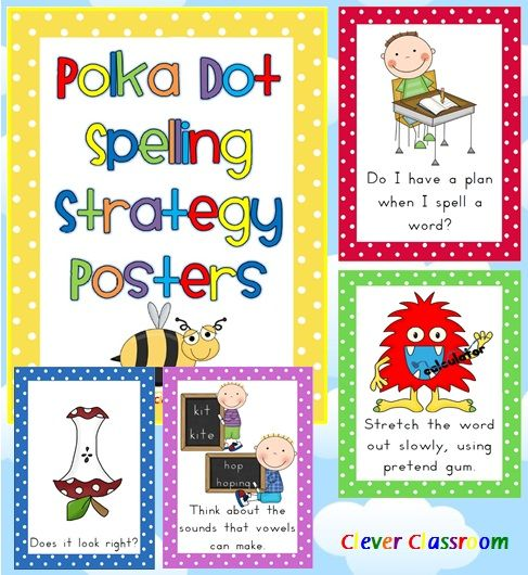 Spelling Strategy Posters Polka Dot Theme 27 page file with 18 full page strategy posters.  This file is a variation from our very popular full page Spelling Strategy Posters (same strategies).   Your posters aim to give students a variety of strategies to spell familiar words. The full-page spelling strategies are aimed  to help students during shared and modelled reading as well as guided and independent writing.    Includes spelling record sheet and assessment/reflection pages. $