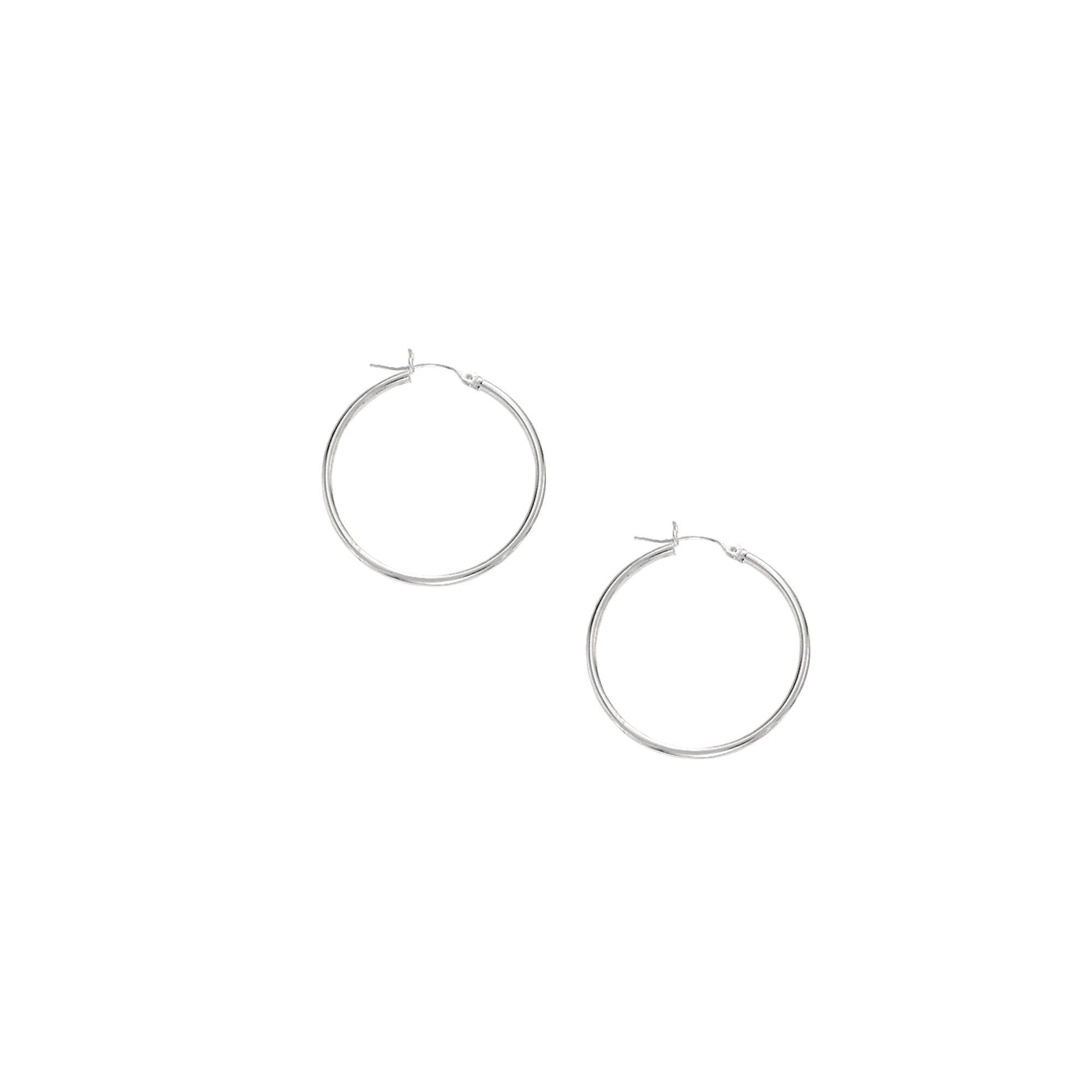 10K Tube Hoop Earring with Hinged Clasp