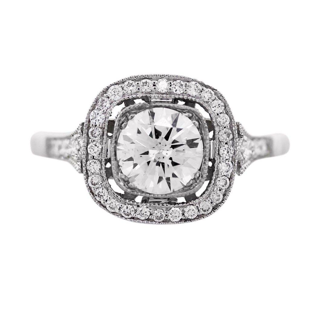 platinum vintage style 1.02 carat diamond engagement ring