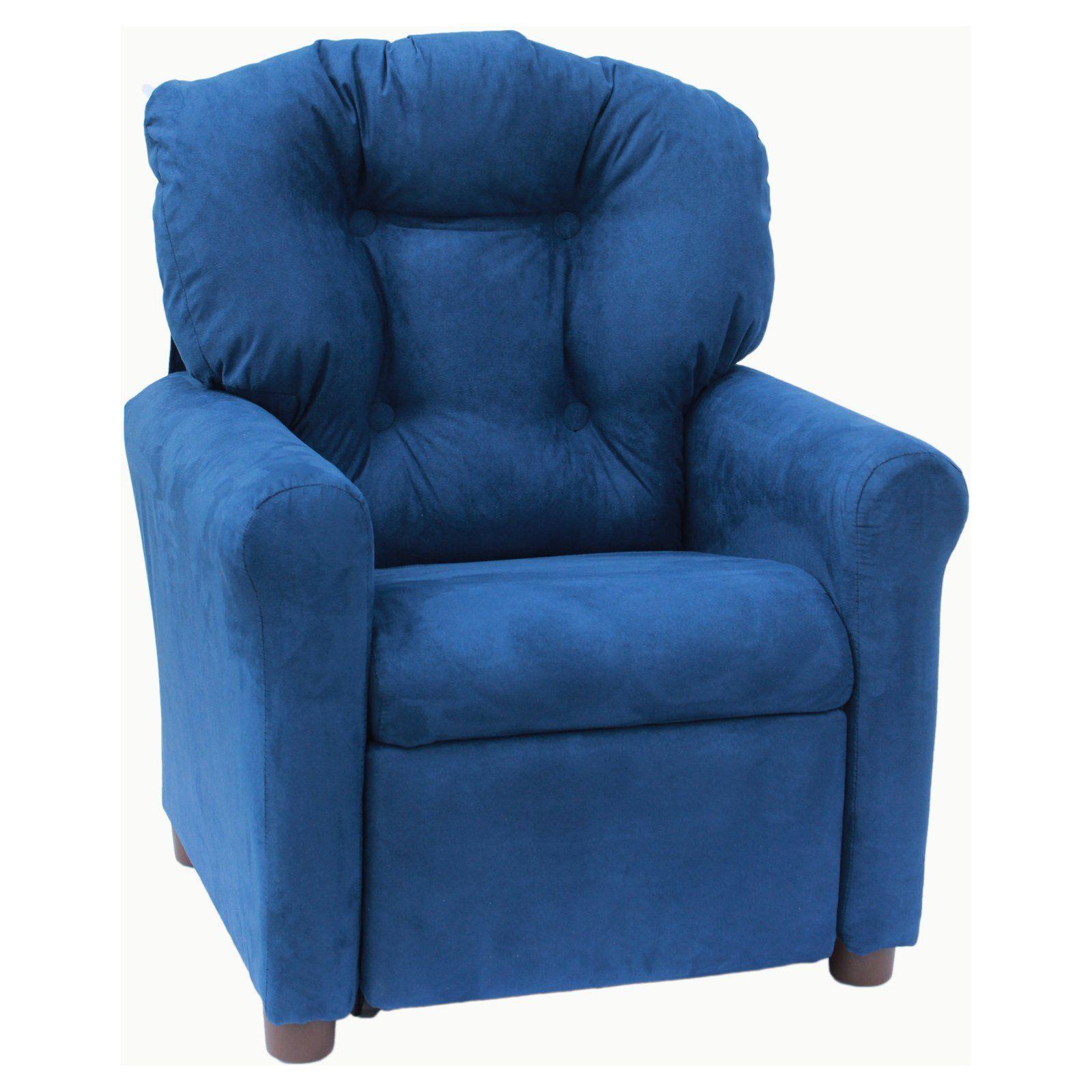 Best The Crew Furniture Estate Blue Microfiber Kids Recliner 400 x 300