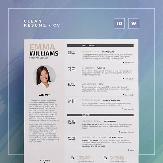 ResumeCv Template Emma Word And Indesign  Etsy  Trc Shop