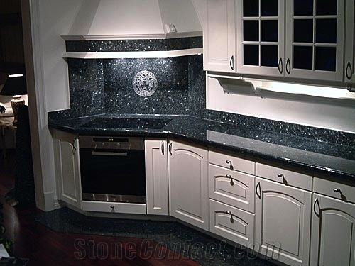 New Volga Blue Granite with White Cabinets