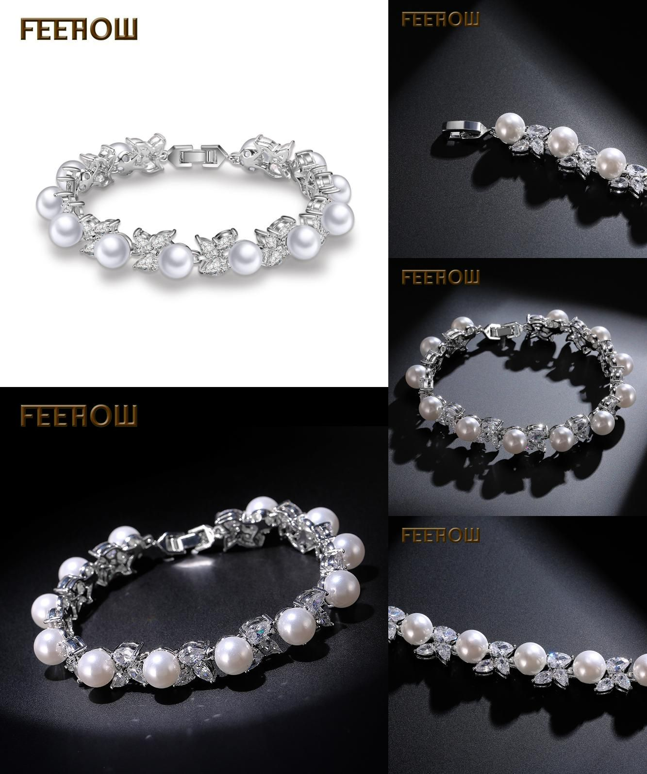 Visit to buy feerow water drop cubic zircon simulated pearl bangles