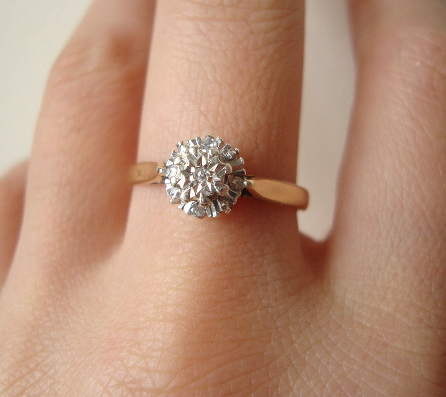 Vintage 9k Gold Diamond Flower Cluster Ring, Diamond & Gold Engagement Wedding Ring Approximate Size US 7.25 / 7.5. $210.00, via Etsy.