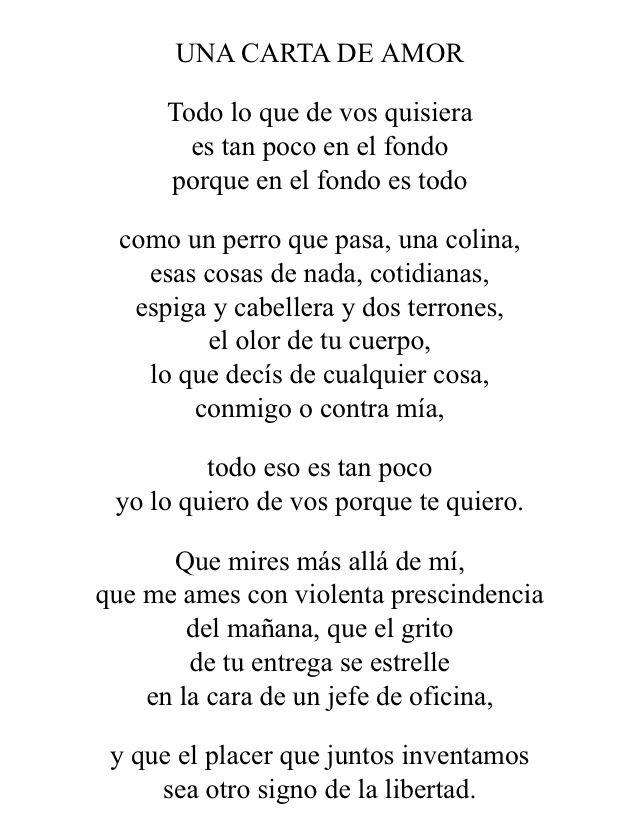 Una Carta De Amor Poema De Julio Cortazar Poemas Frases Pinterest